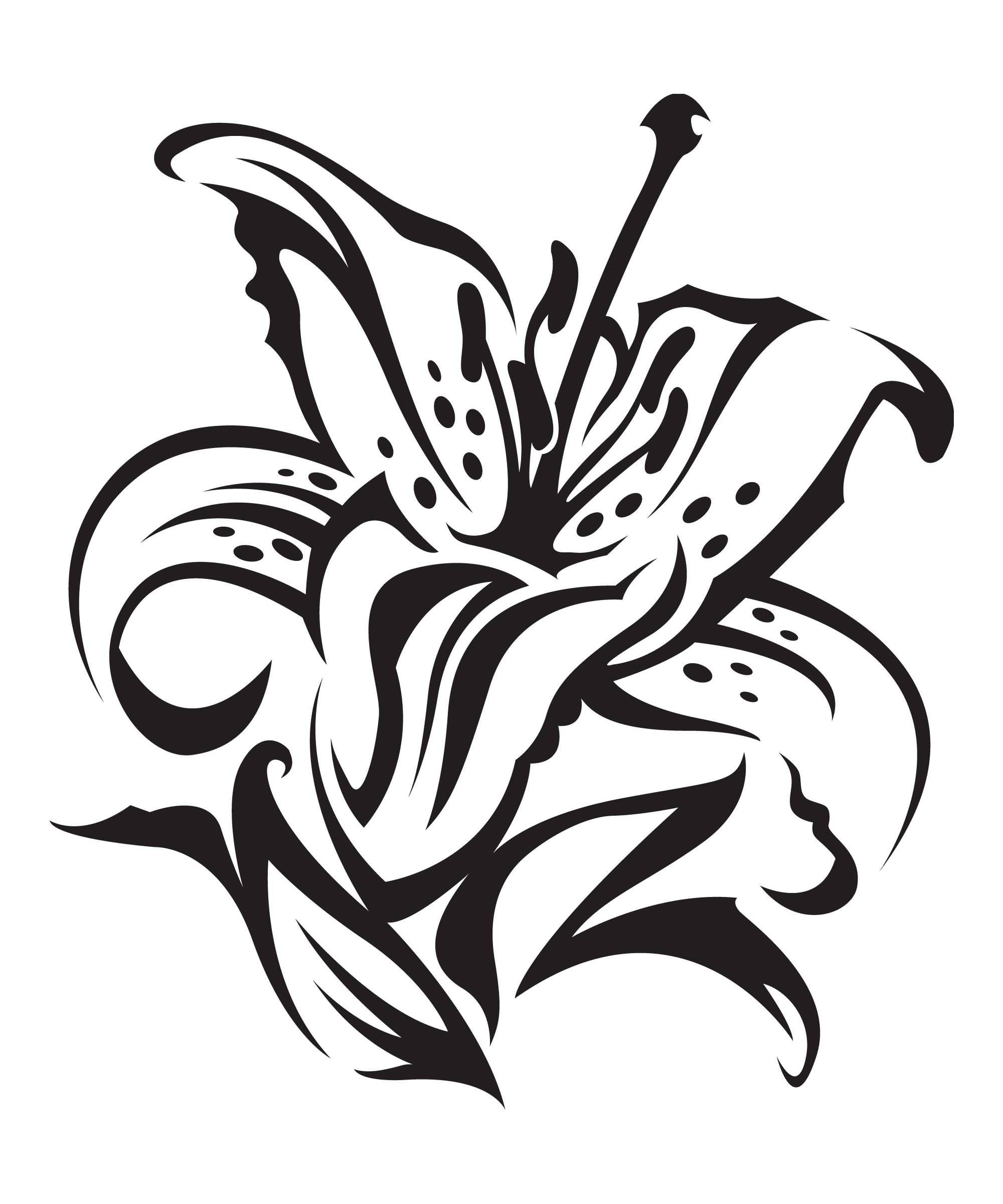 Black Ink Tiger Lily Tattoo Design On Paper Truetattoos