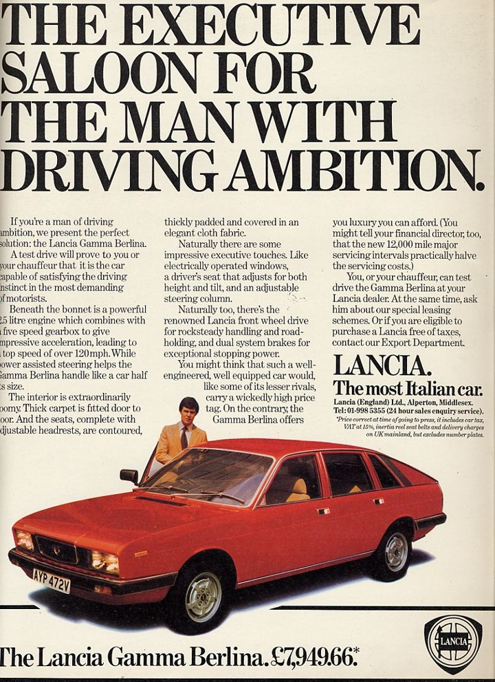 1980 Lancia Gamma Vintage Cars Car Ads Car