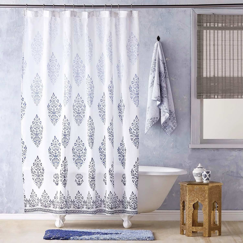 John Robshaw Textiles Jalati Indigo Shower Curtain Indigo