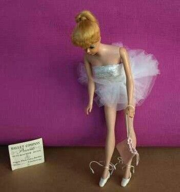 Vintage Barbie Ballerina 989 1961 1965 Perfectly Tailored Silver Lame Tutu Ballet Slippers Pink Satin Ballet Bag Couture Outfits Vintage Barbie Tulle Tutu