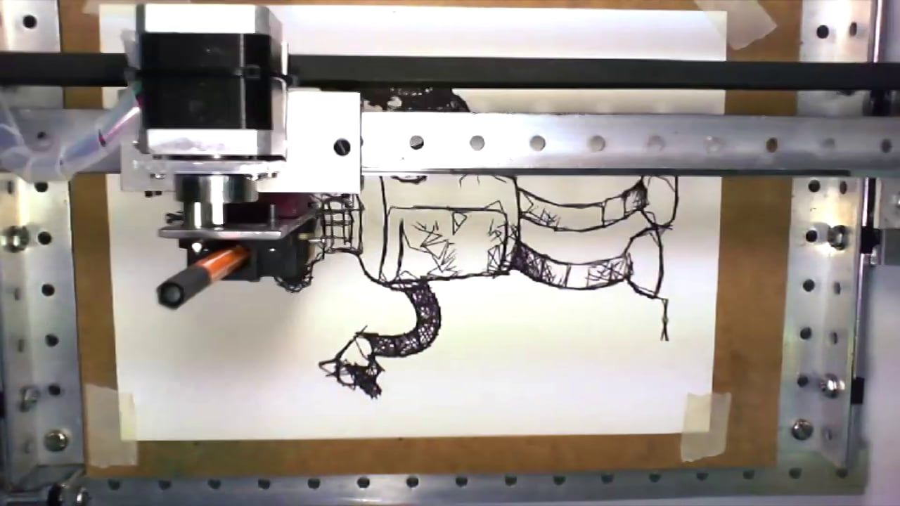 Arduino robot drawing one stroke and