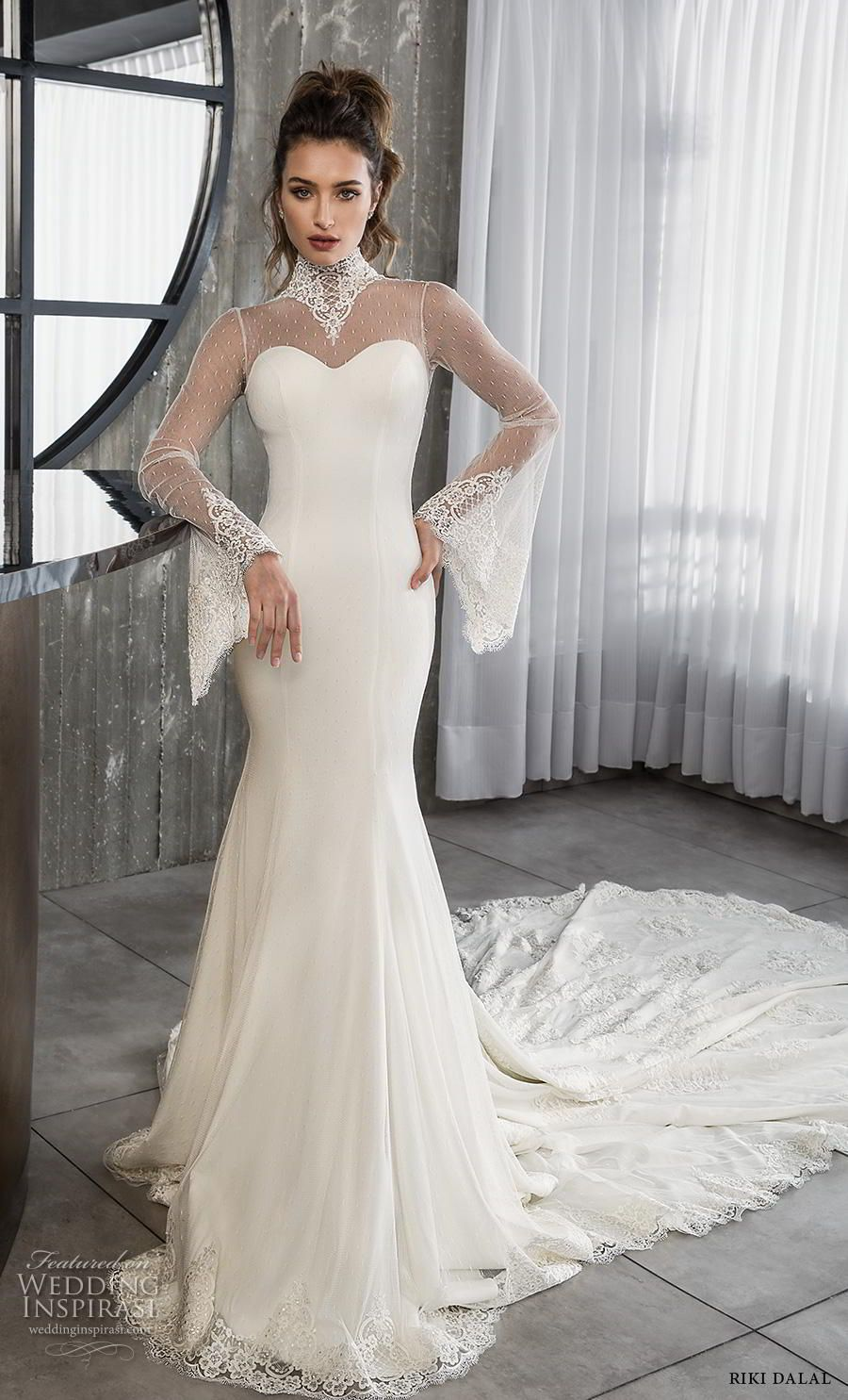5fc52cb734 riki dalal 2018 glamour bridal long bell sleeves illusion high neck  sweetheart neckline simple elegant fit and flare wedding dress keyhole back  chapel train ...