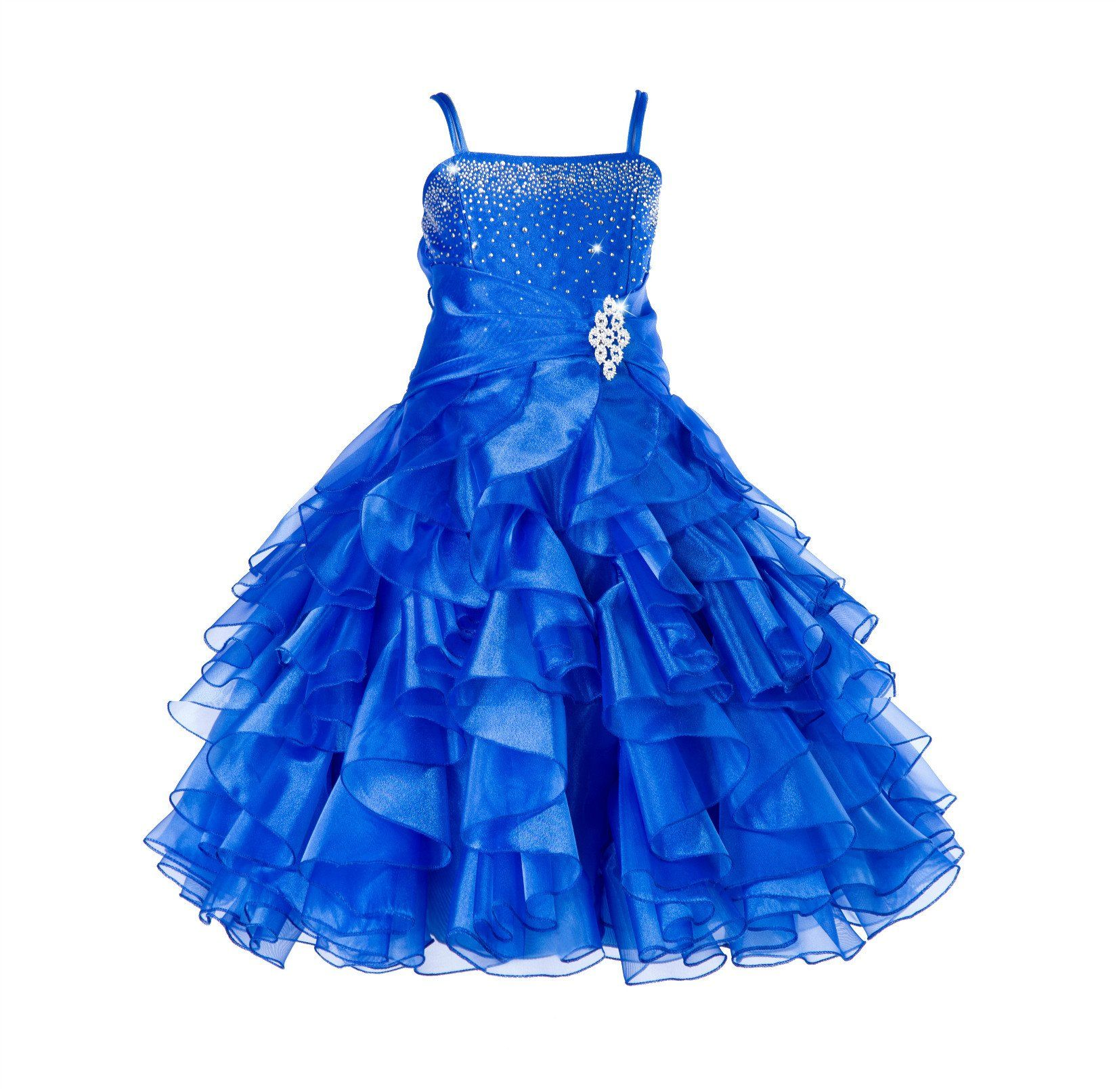 6c488e7c5 Elegant Rhinestone Organza Pleated Ruffled Beauty Pageant Special Occasions  Flower Girl Dress 164s