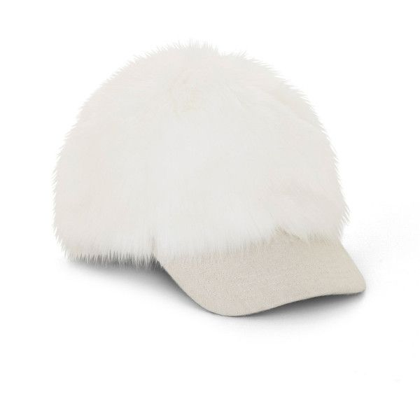 BCBGMAXAZRIA Faux-Fur Baseball Cap ( 48) ❤ liked on Polyvore featuring  accessories 66e7119ea27d