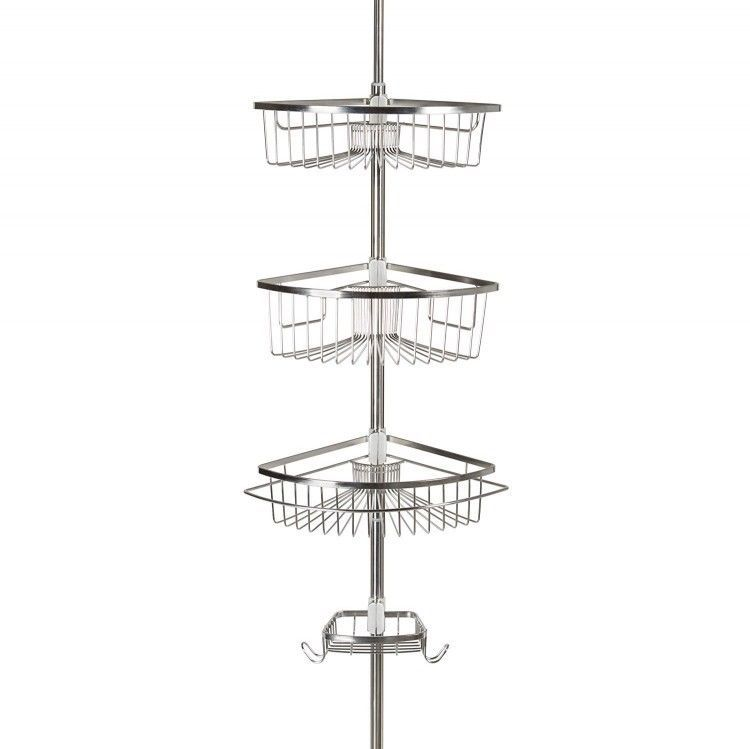 Shower Caddy For College Three Tier Corner Tension Pole Stainless