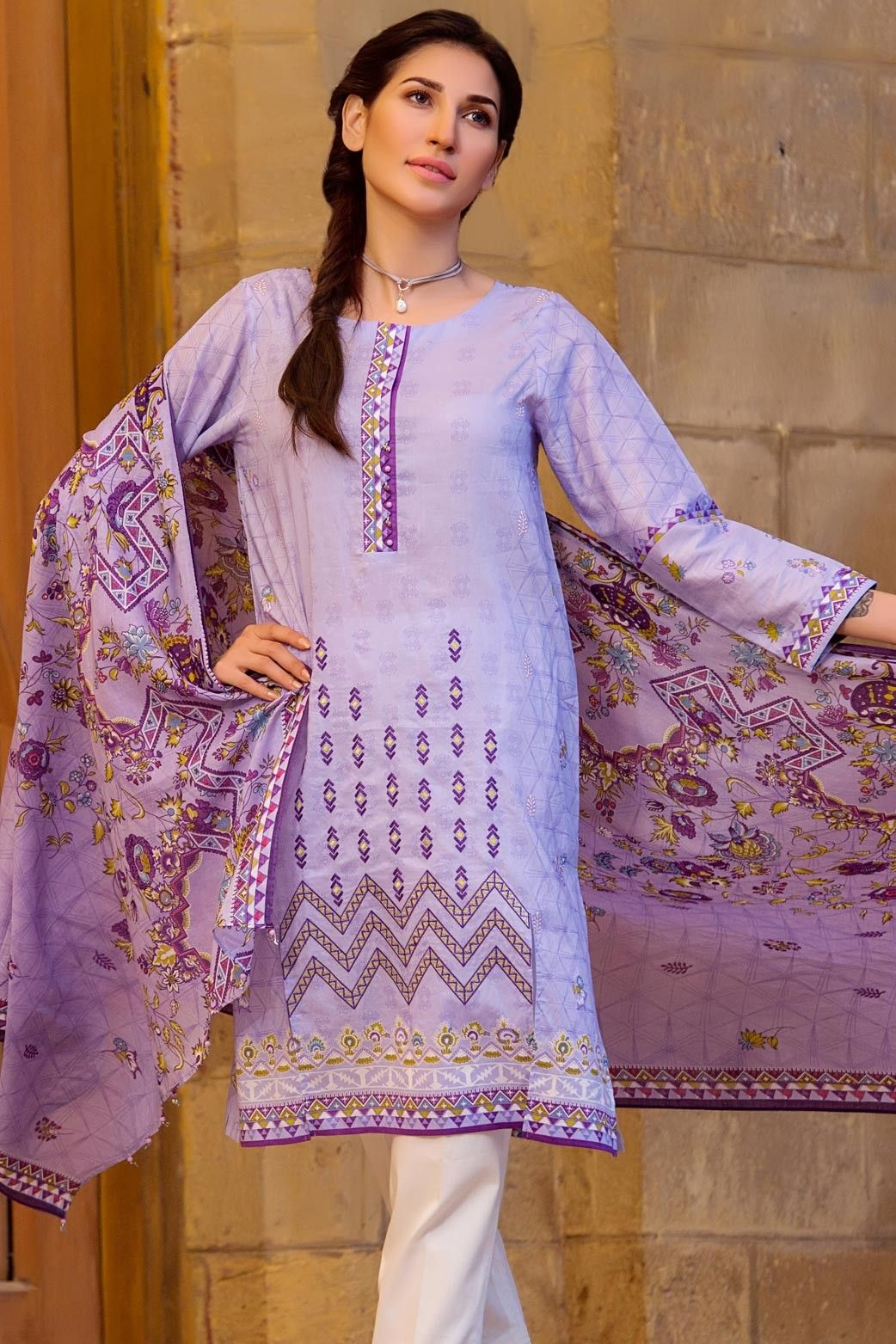 7fbf2ae59b Buy online Zeen Cambridge 3 piece Ready to Wear Pret Wear 'Dutch Cottage'  Violet Lawn Pakistani Dress Eid Collection 2017 #wintercollection  #blackfriday ...