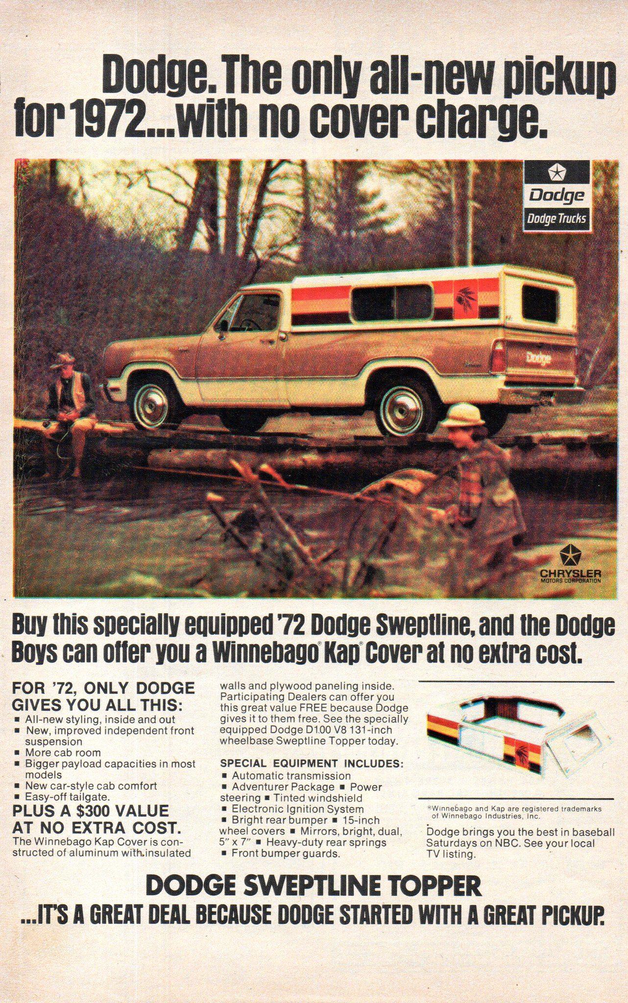1972 Dodge Sweptline Topper Pickup Truck Chrysler Corporation Usa Original Magazine Advertisement Dodge Pickup Trucks Vintage Trucks