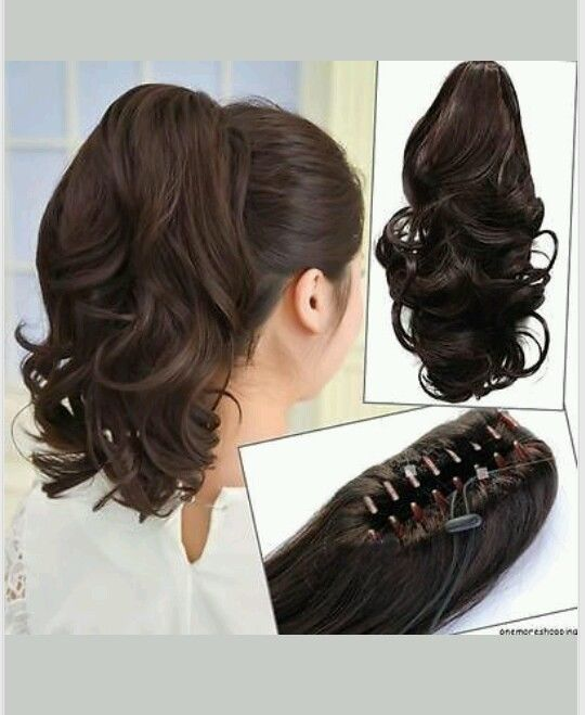 New Clip In Medium Brown Curly Wavy Ponytail Hair Extension