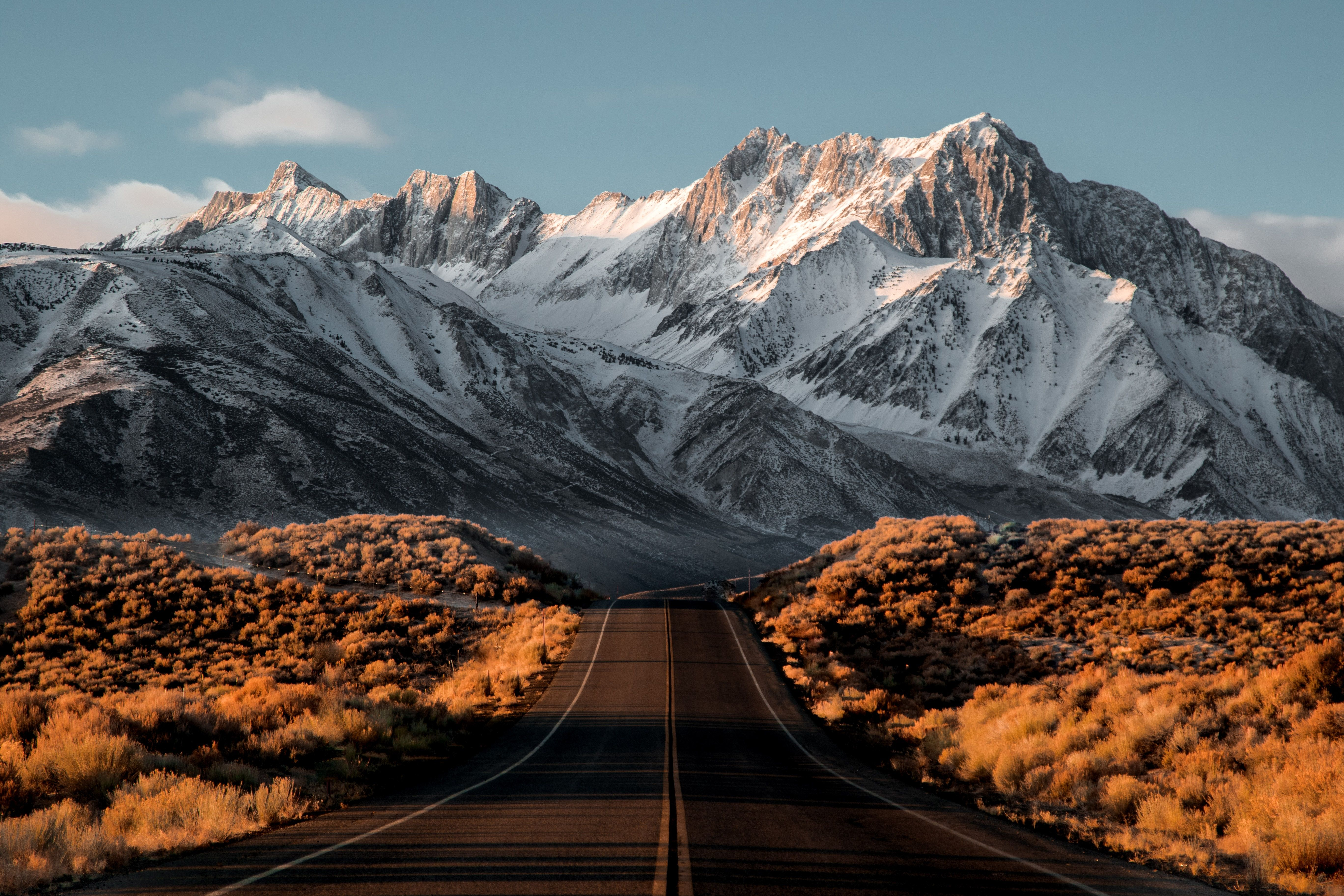 Nature Water Snow Mountains Road Landscape Snowy