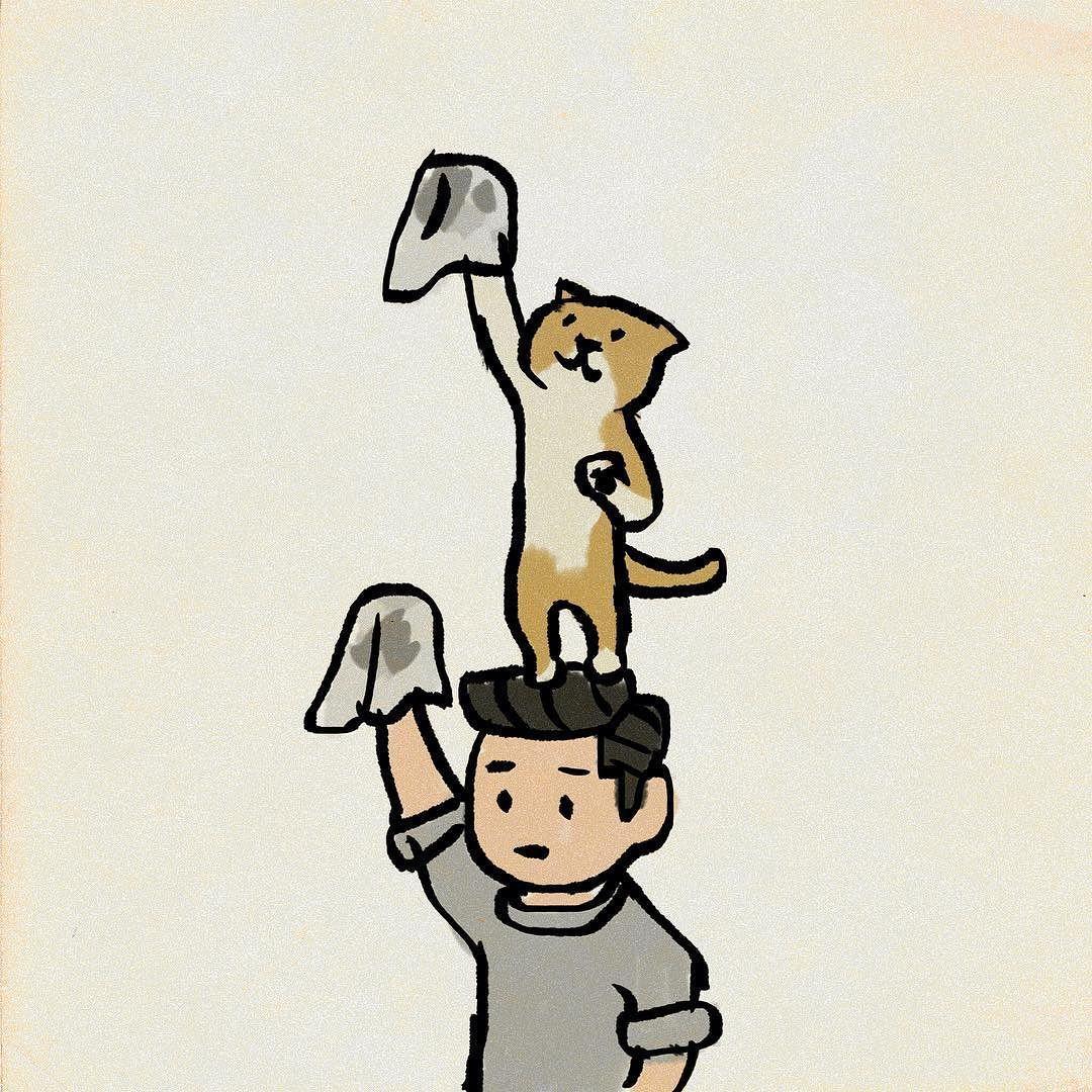 和田正之 On Instagram 大掃除 猫の手を借りる イラスト Procreate イラスト 大掃除 ねこ