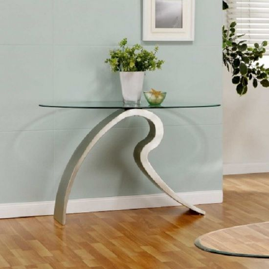 Signature Glass Console Table In Clear With Satin Plated Base