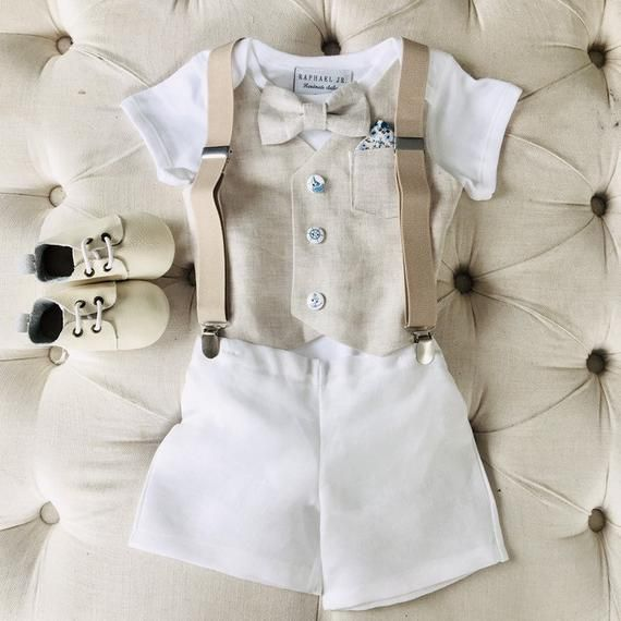 384ba6b730 Baby boy linen and cotton summer Baptism outfit with beige linen ...