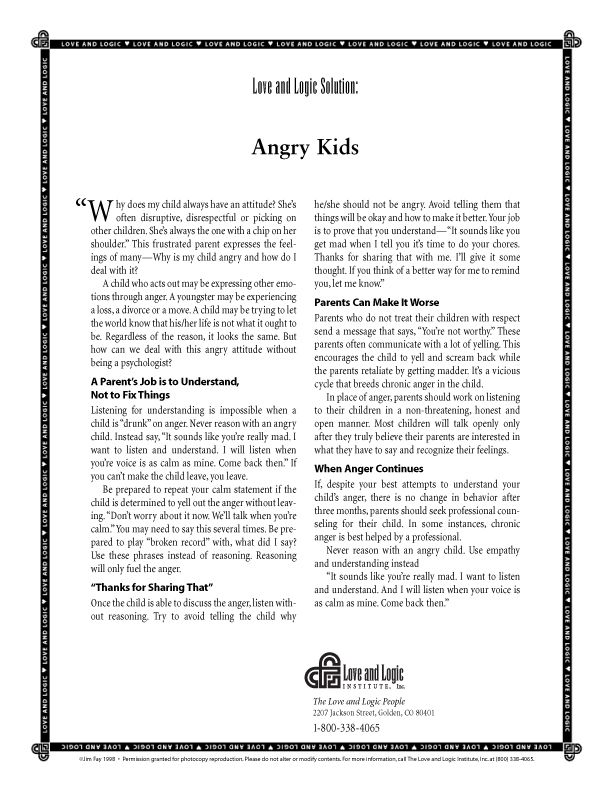 How to Deal with Angry #Kids. #Parenting #Tips from Love and Logic ...