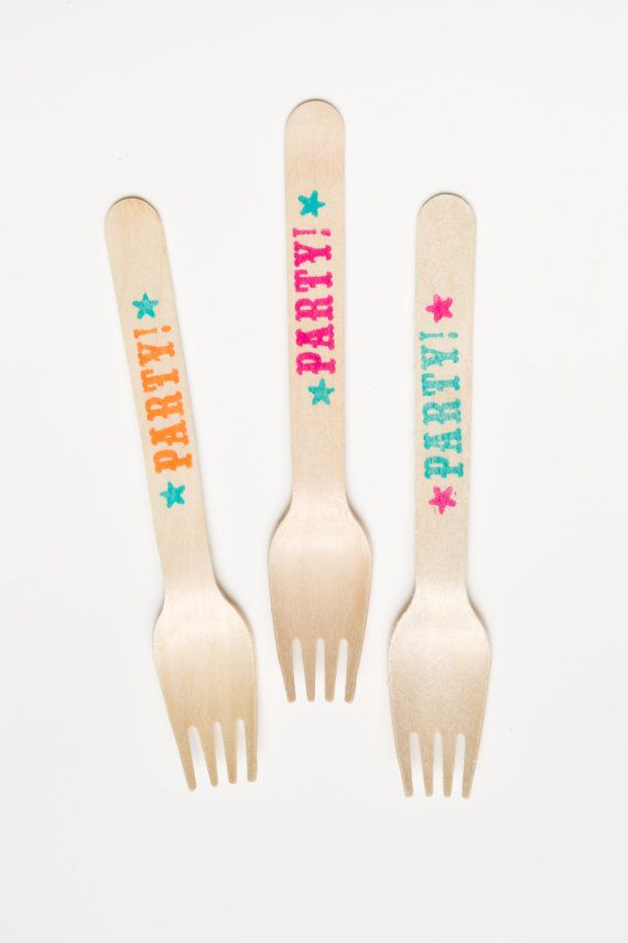 20 Wooden Forks - Party - Carnival - Neon - Great Alternative To Plastic Utensils