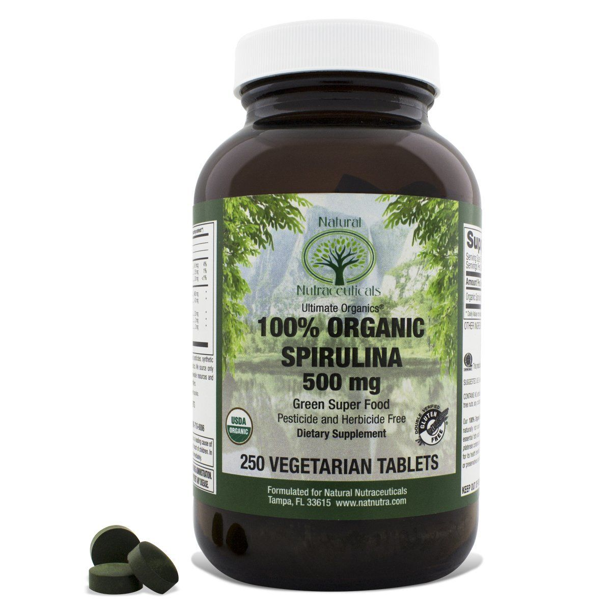 Natural Nutra Certified Organic Spirulina Supplement Protein Packed Algae 250 Tablets Wow I Love T Brain Health Supplements Herbal Supplements Herbalism