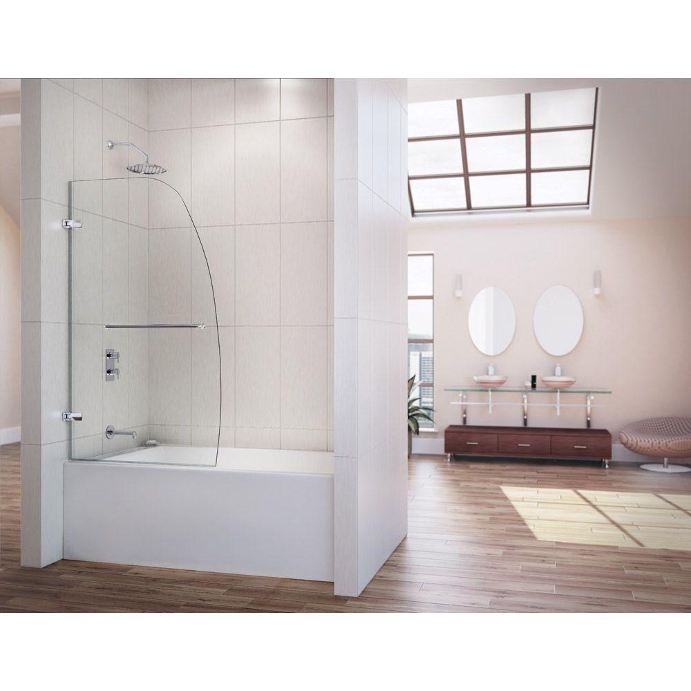 Dreamline Aqua Uno 34 5 16 In X 58 In Frameless Hinged Tub Door