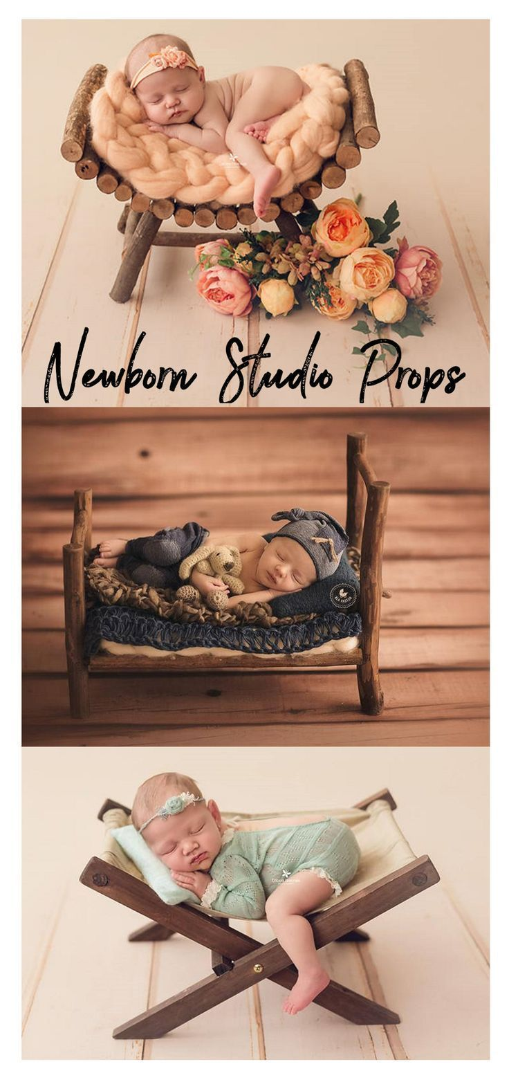 These beautiful newborn photo props would help baby to relax and help you get pretty pictures wood rustic miniature hammock deck chair