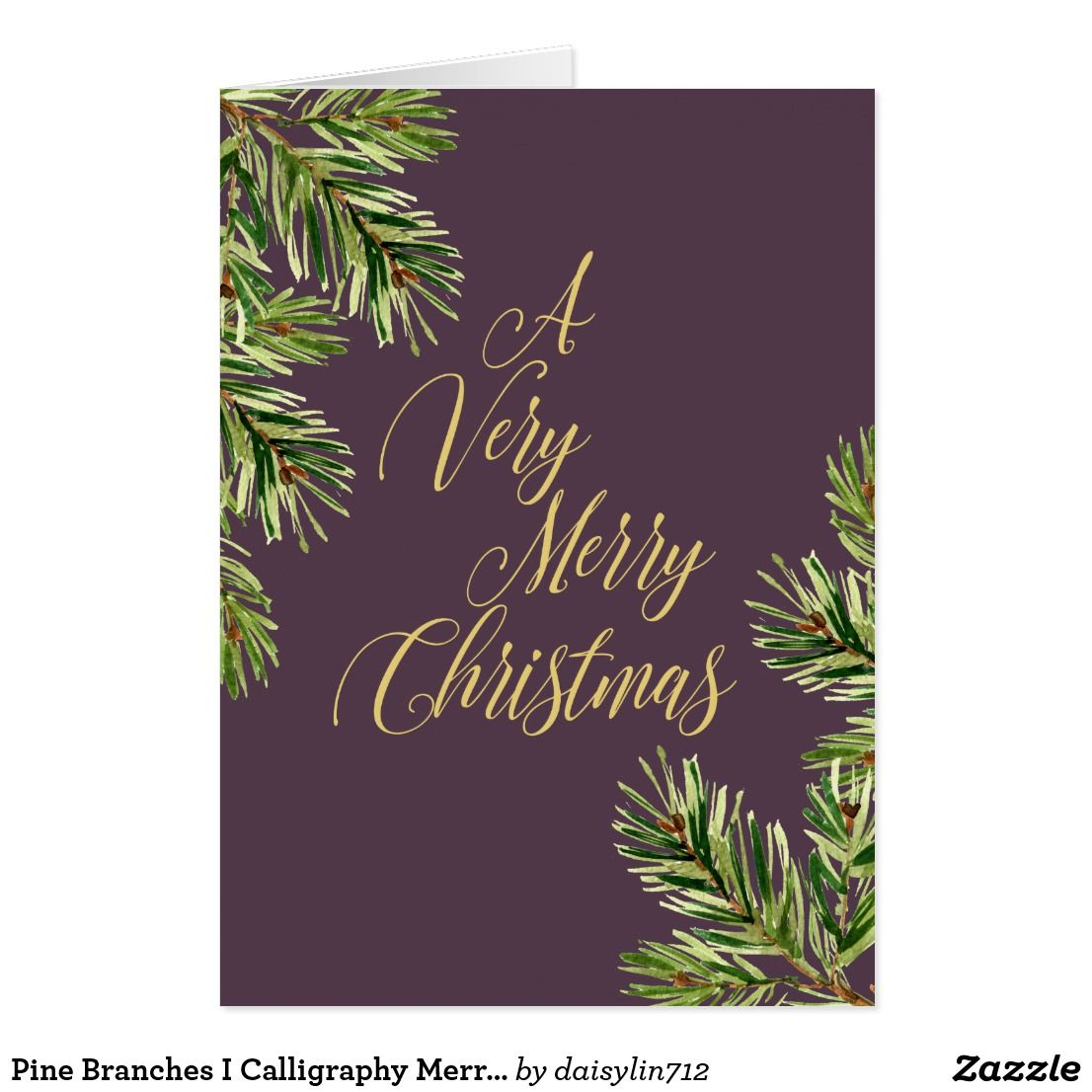 A Very Merry Christmas Greeting Card Featuring Trendy Watercolor