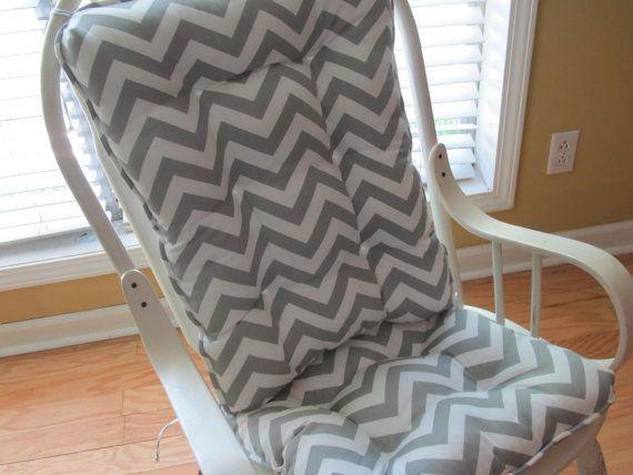 Superbe Tufted Custom Rocker Or Rocking Chair Cushion Set In White U0026 Grey  Dandelion, Glider,Nursery, Patio,Porch,Glider,Dining | Home Decor |  Pinterest | Rocking ...