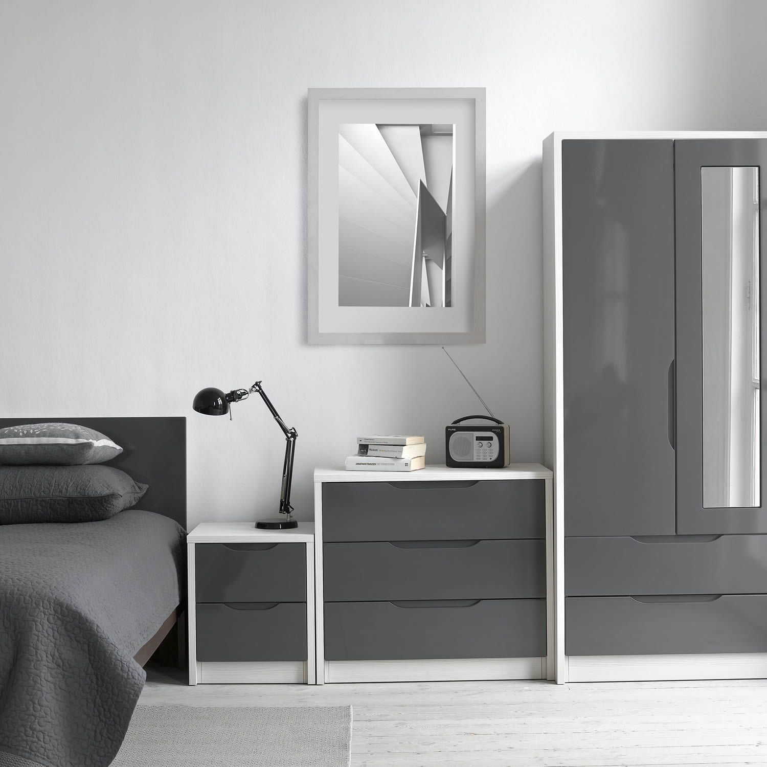 Next Mirrored Bedroom Furniture Avola Grey Gloss 2 Door 2 Drawer Combi Wardrobe With Mirror Next