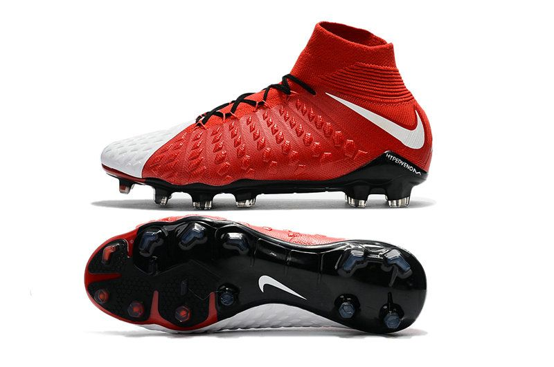 check out 44fc5 abf90 Chaussures de Football Nouveaux Nike Hypervenom Phantom III DF FG Rouge  Blanc