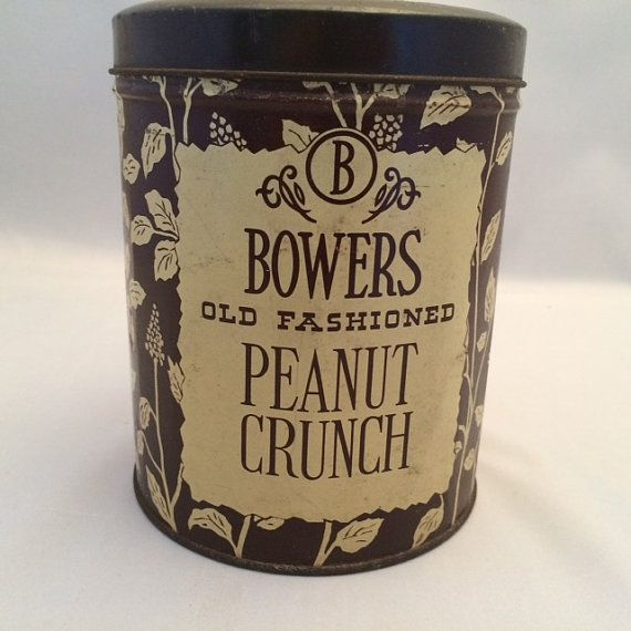 Vintage BOWERS Old Fashioned Peanut Crunch Candy Tin by REACQUAINT