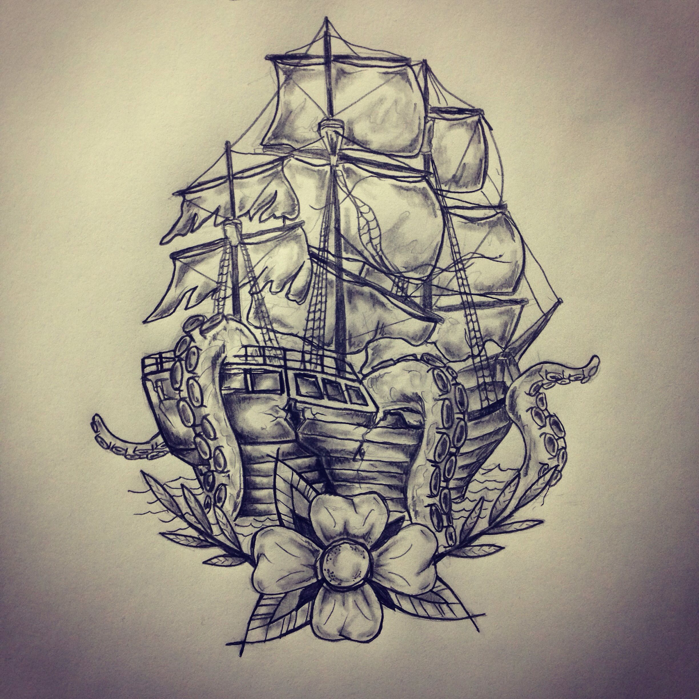 Ship Octopus Tattoo Sketch Drawing By Ranz