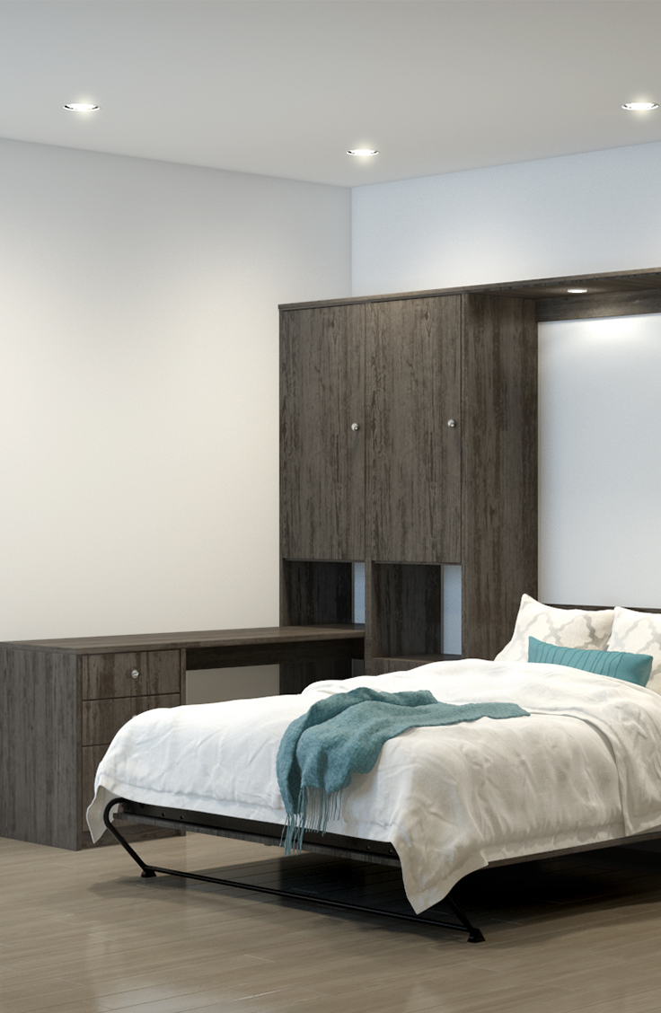 Design your murphy wallbed with a desk addition and start creating