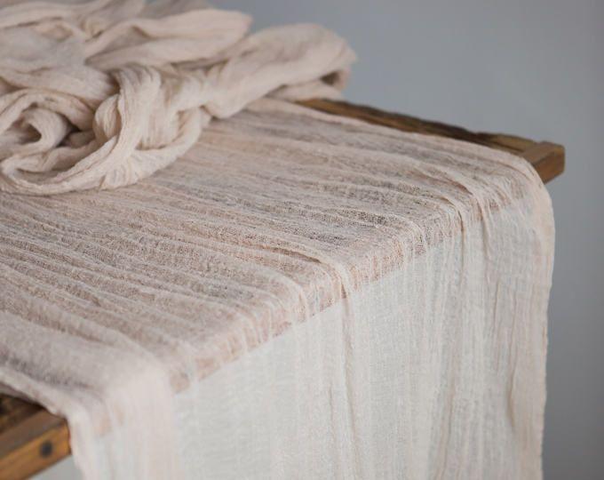 Boho Wedding Cheesecloth Table Runner Rustic Wedding Centerpiece Wedding Arch Rustic Wedding Arbor Decor Farm Table Cloth Bridal Shower Bridal Shower Rustic Bridal Shower Tables Unique Bridal Shower