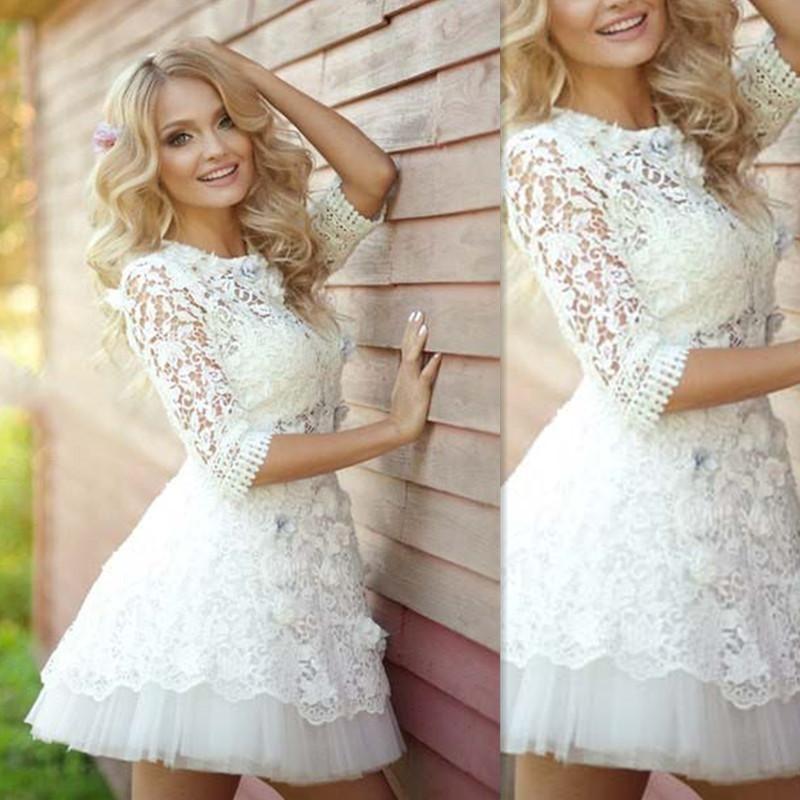 Mini Dresses Wedding Gowns 2018 Sheer Lace Short Half Sleeves Bridal ...