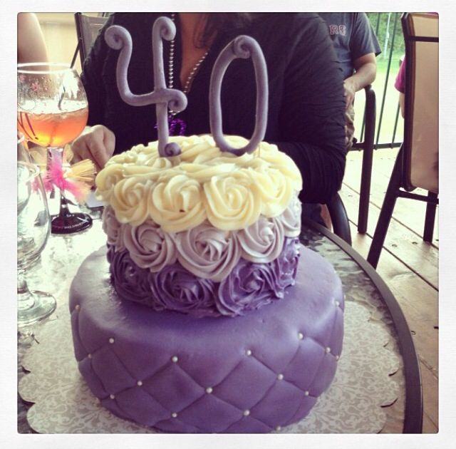 40th Birthday Cake. Purple Rosettes. Pearl Sprinkles. Pin Tuck