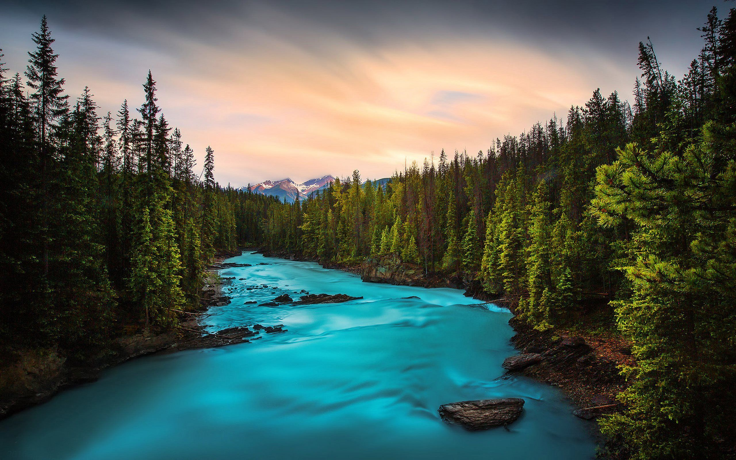 Forest River Mountain River Sunset Yoho National Park British Columbia Canada National Parks Yoho National Park River