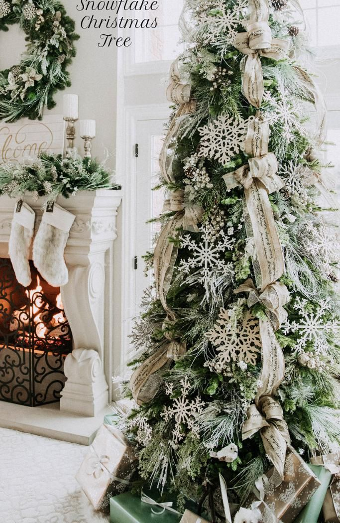 Christmas tree decor ideas  Snowflake ornaments  Christmas tree ornaments  Christmas tree designs 2018 Large wooden snowflakes make this Christmas tree design an absolute masterpiece  Flocked branches burlap ribbon and glitter fillers provide the perfect backdrop for a snowflake winter wonderland!enchantingdesignsmi