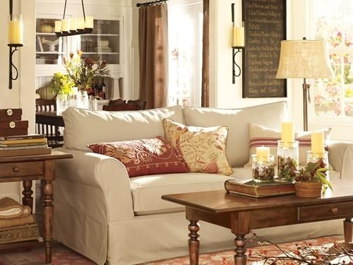 Wood Tables, Linen Shades, Warm Red Fabric Accents. American Classic Living  Room Décor