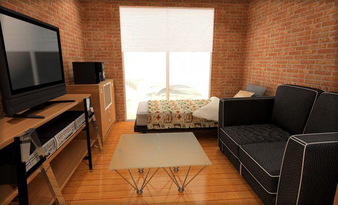 7畳1kのレイアウト例 ソファとベッド レンガ壁紙で海外風なイメージにしてみたよ 一人暮らしのワンルームインテリア ワンルーム インテリア インテリア 部屋 シンプル