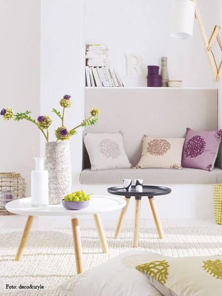 Wohnzimmer, Tisch, Tischchen, Bank, Kissen, Vase, Obst, Schale - wohnzimmer braun weis grun