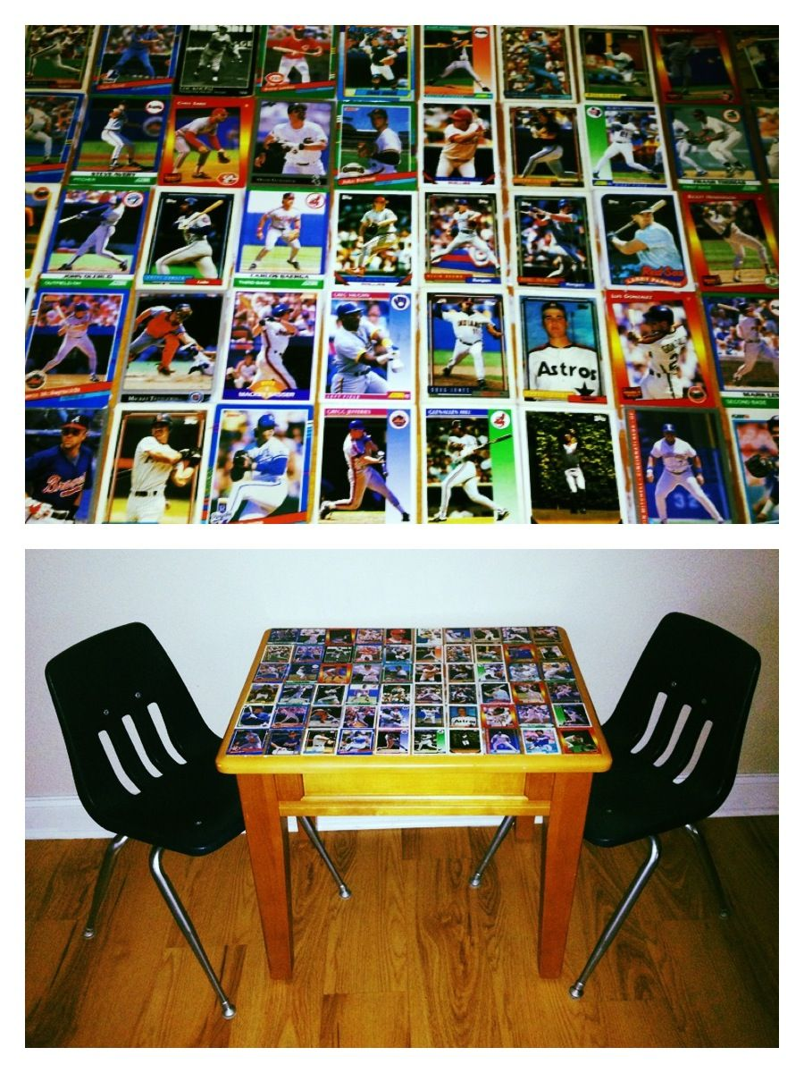 Modge podge an end table with old baseball cards seal with epoxy modge podge an end table with old baseball cards seal with epoxy for a shiny geotapseo Image collections