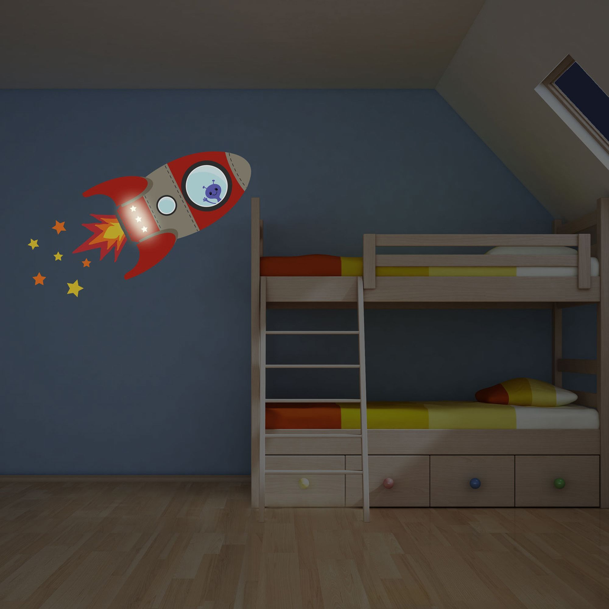 Stickerscape Flying Rocket Wall Sticker With Glow In The Dark
