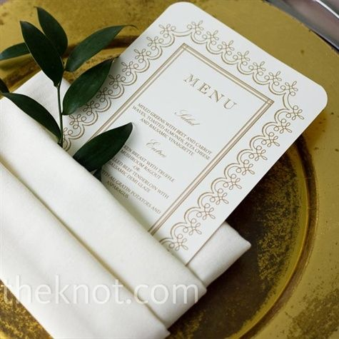Gold menu card with sprig of greenery wedding stuff Pinterest