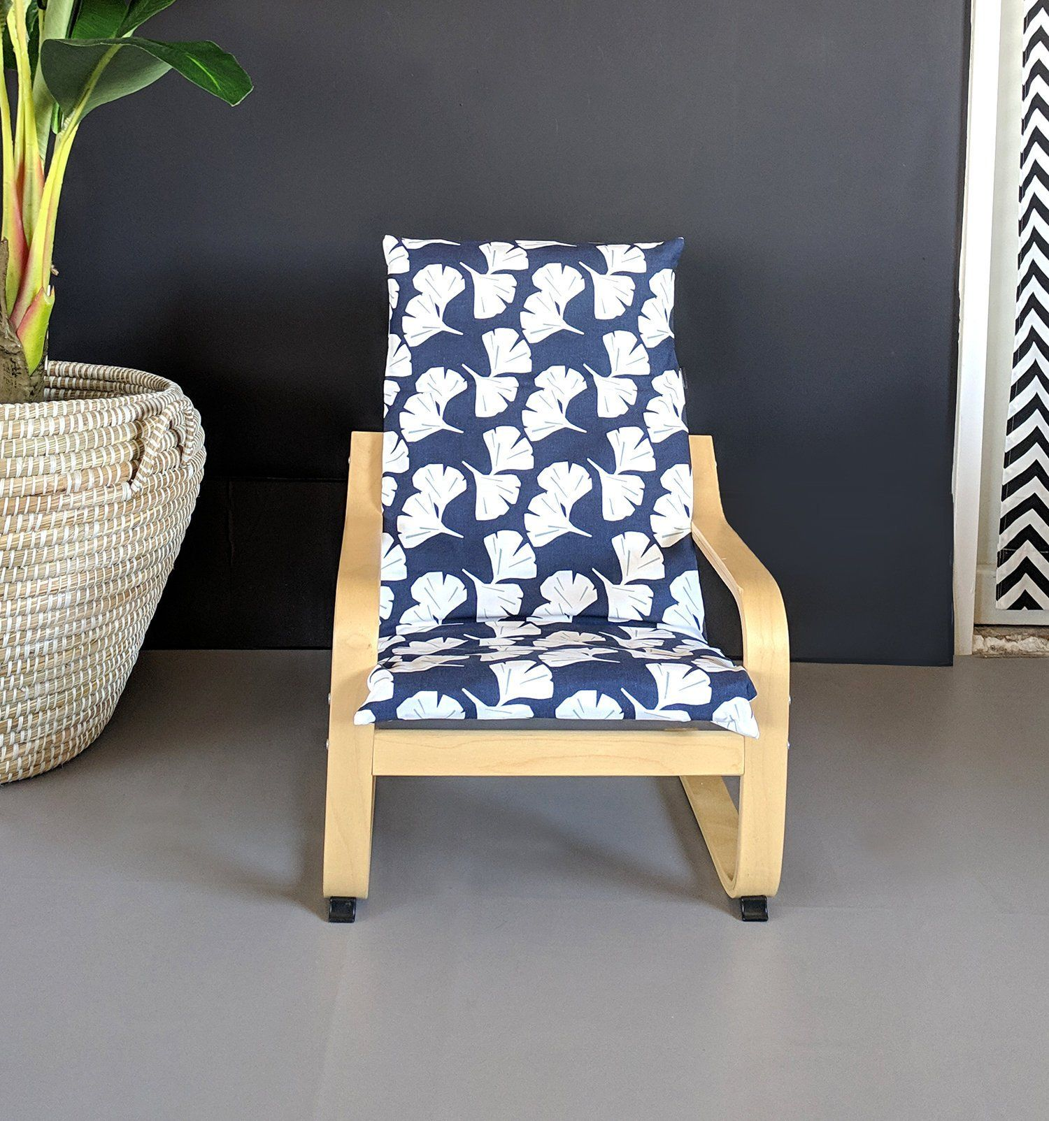 Hawaiian Navy Blue Flowers Ikea KIDS POÄNG Cushion