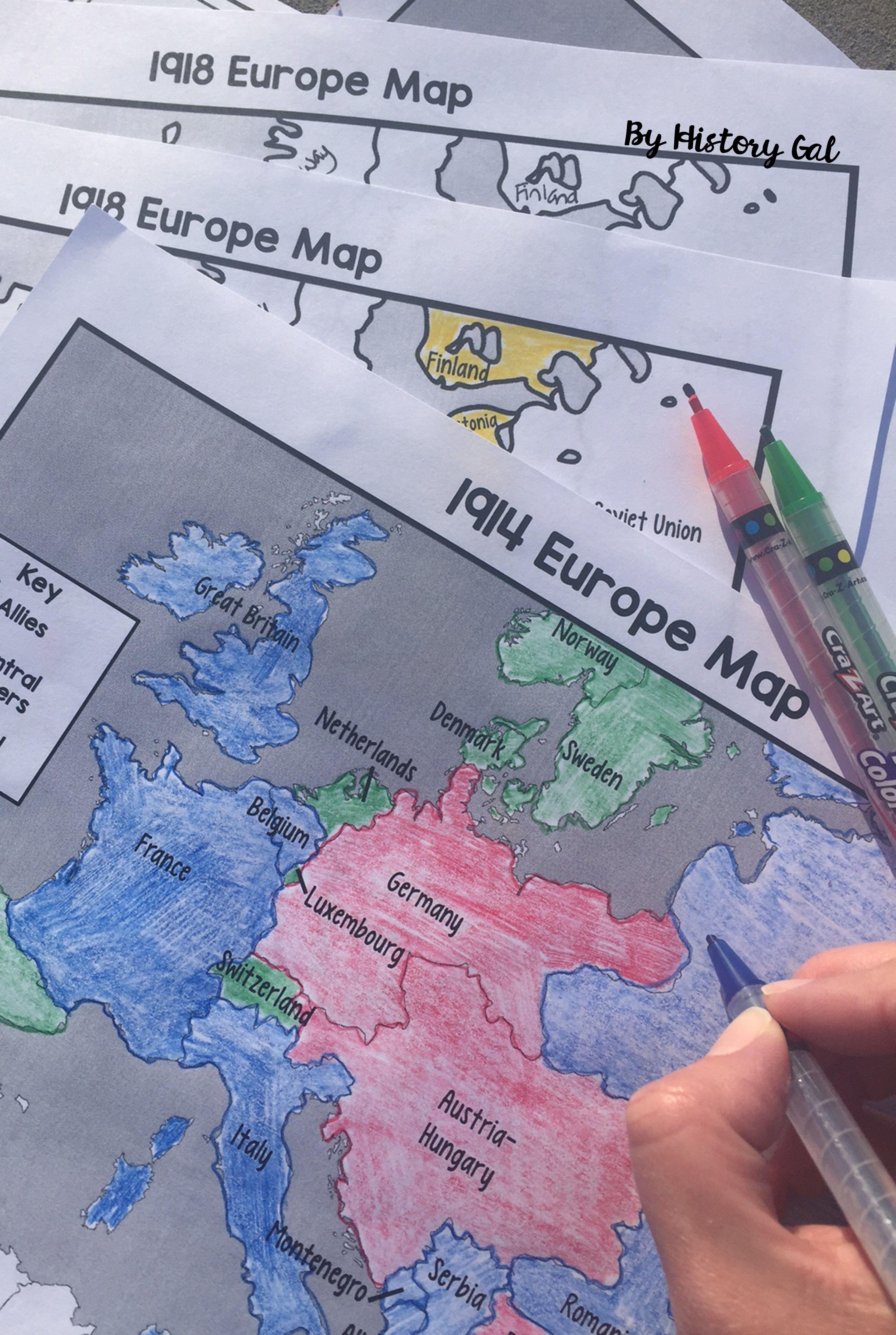 World War I (World War 1) 1914 and 1918 Europe Maps | Worksheets ...