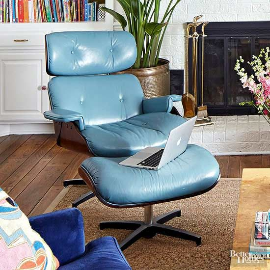 A Colorful Home Packed With Craigslist Makeovers White Dining Chairs Blue Leather Chair Dining Room Chairs Modern