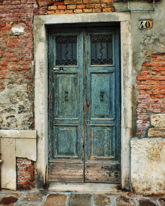 Items Similar To Fine Art Photograph Weathered Old Door Venice Italy Green Peeling Paint Vintage Brick 8x10 On Etsy Old Door Rustic Doors Old Doors