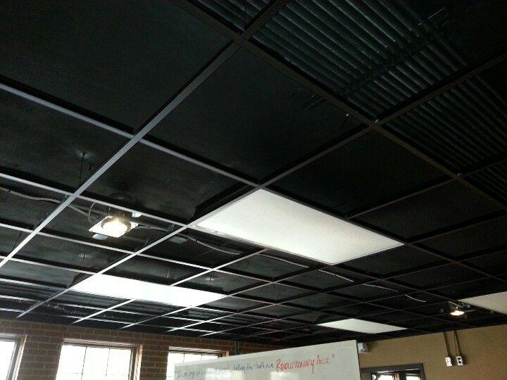 Remove Ceiling Tiles, Leave Lights, Paint Ceiling Black (sm2 Cafe)
