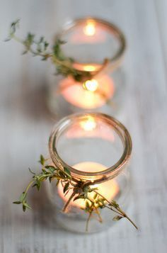 tea lights with thyme and twine