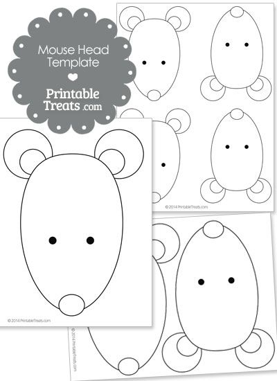 Printable Mouse Head Template from PrintableTreats.com