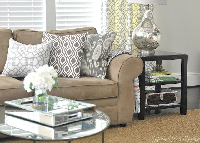 Honey We Re Home 100 Pillow Giveaway Festive Home Decor Tan Living Room Tan Couch Living Room Living Room Colors