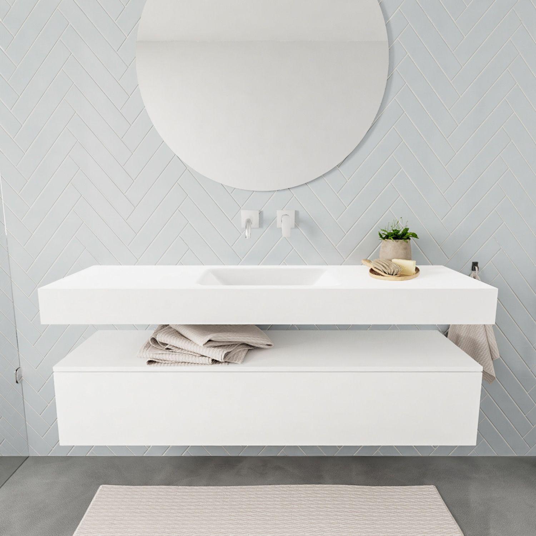 Badkamermeubel Aqs Ibiza 150 Cm Soft Close Lade Solid Surface Wastafel Mat Wit Acht Varianten Altijd De Beste Prijs Kwal In 2020 Onder Kast Badkamermeubel Wastafel