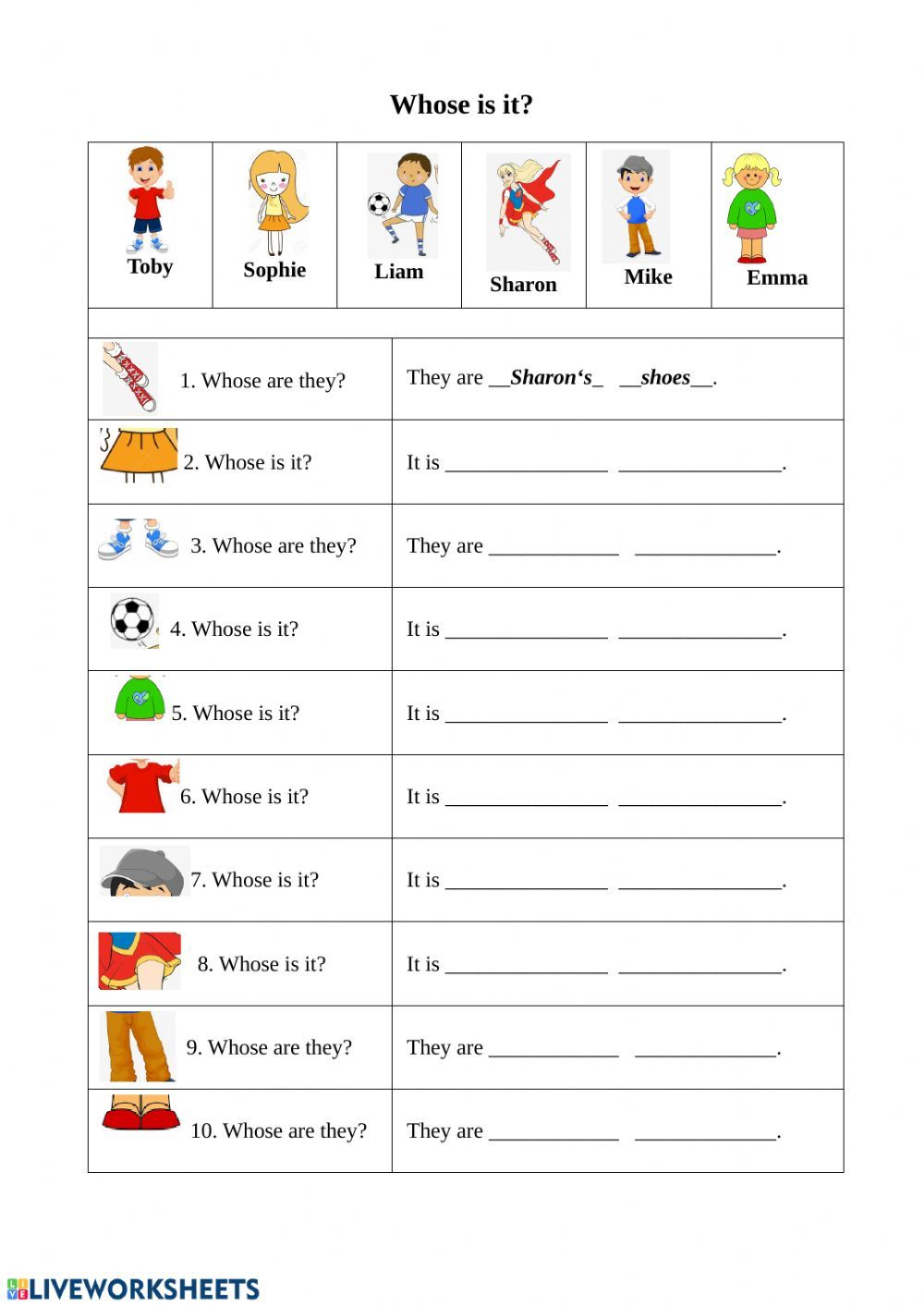 Whose Is It Worksheet In 2021 English Writing Skills Learning English For Kids 2nd Grade Math Worksheets