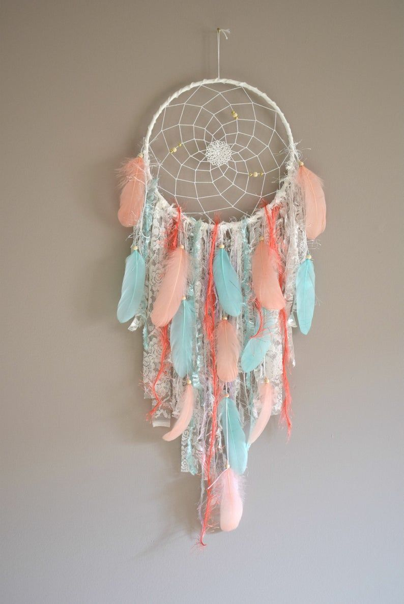 Big Dream Catcher Wall Hanging Teal Coral Dream Catcher Dreamcatcher Bedroom Wall Decor  Big Dream Catcher Wall Hanging Teal Coral Dream Catcher  Etsy